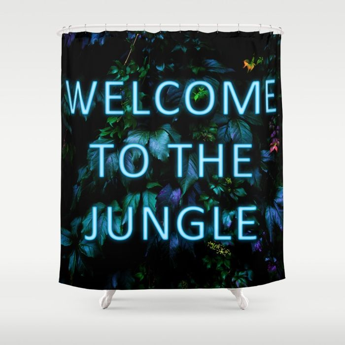 Welcome to the Jungle - Neon Typography Shower Curtains by Nicklas Gustafsson. Customize your bathroom decor with unique shower curtains #neon #typography #floral #botanical #jungle #forest #nature #flowers #homedecor #shower #curtains #showercurtains
