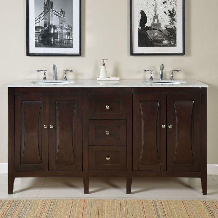 "68"" Double Sink Lavatory Cabinet Bathroom Vanity Set"