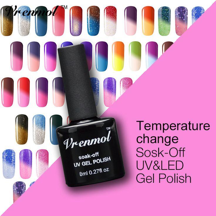 Vrenmol 1pcs Soak Off 29 Colors Temperature Color Thermal Mood Changing UV Gel Verniz Lacquer Changed Nail Polish