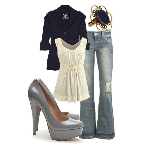Nice, simple, cute: Shoes, Date Night, Style, Shirts, Cute Outfits, Jackets, Jeans, Heels, The Navy