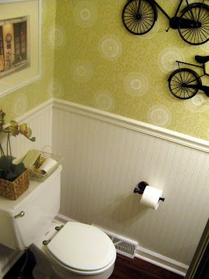 25 best images about beadboard wallpaper on pinterest for Bright bathroom wallpaper