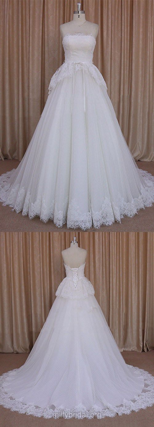 Pretty Princess Wedding Dresses, Ivory Lace Bridal Gowns,Tulle Strapless Wedding Dress,Sashes/Ribbons Wedding Gowns