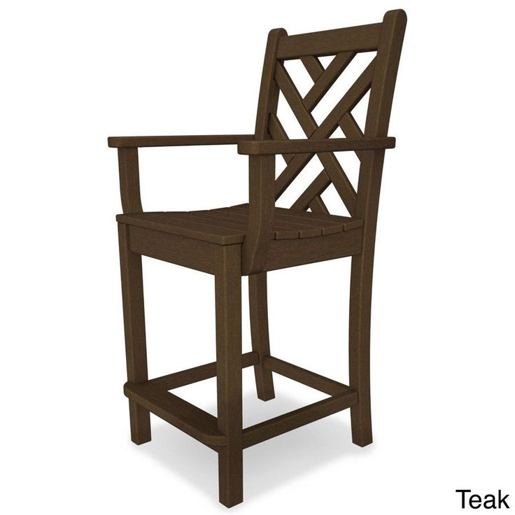 Polywood Chippendale Polyethylene Counter Arm Chair (Teak), Brown, Patio Furniture (Plastic)