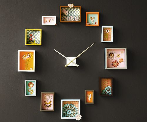 Passe-Partout photo frame clock where you fill the frames with prints, cards, photographs, found items, vintage wallpaper or gift wrap to create your own unique look ~ includes all 12 frames & center timepiece with arms / Dutch by Design
