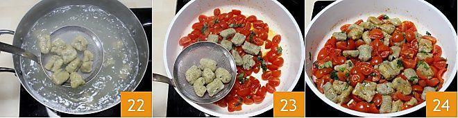 Gnocchi di melanzane con pomodorini e basilico