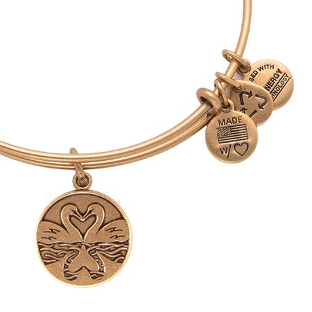 Alex and Ani The Perfect Pair Swan Heart Russian Gold