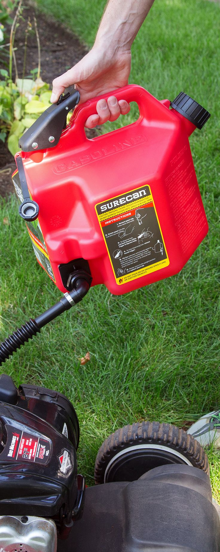 Filling up is easier and safer with this no-spill gas can. Fuel is dispensed from the bottom of the durable container, eliminating heavy lifting. An easy-to-angle flexible spout and a trigger release system give you better control over filling and pouring (and an added measure of safety).