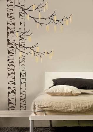 birch tree wall stencils - Google Search