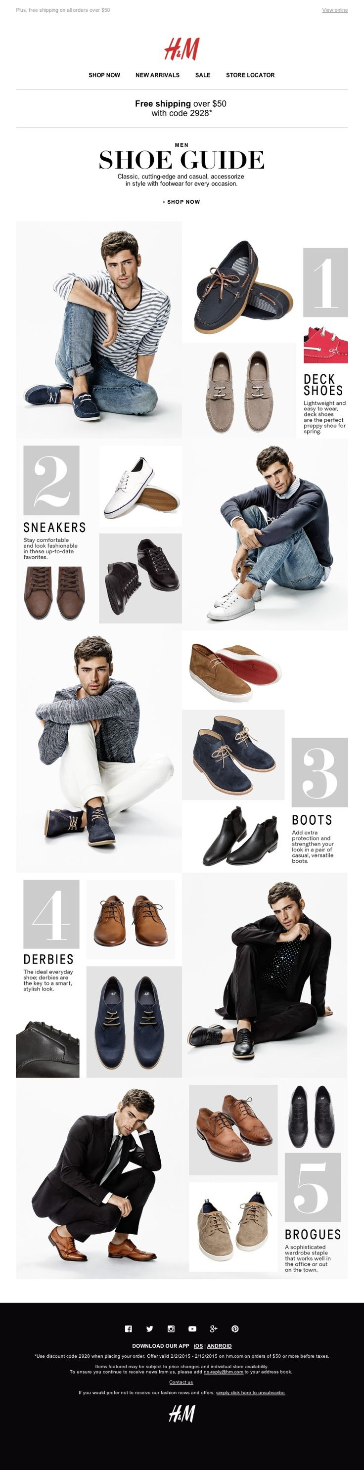 H&M Spring Shoe Guide - great way to show outfitting while incorporating accessories into the message (would love to do a total accessories guide with hats, bags, shoes, SOCKS)