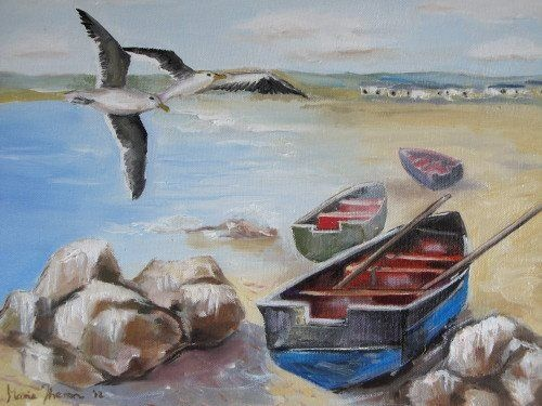 Three Boats, Two Birds painted in oil on canvas, 406 x 305mm, R1000
