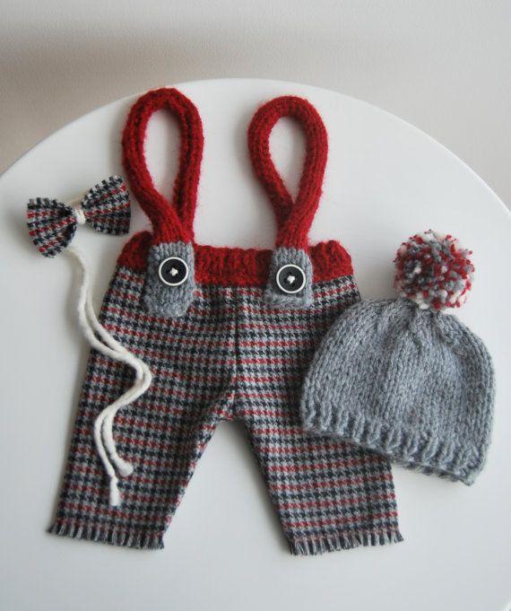 Newborn Set, Newborn Pants with Suspender, Newborn Hat, Bow Necktie, Woolen Fabric Pants, Tweed, Newborn Pants Prop, Newborn Boy Prop, Gray