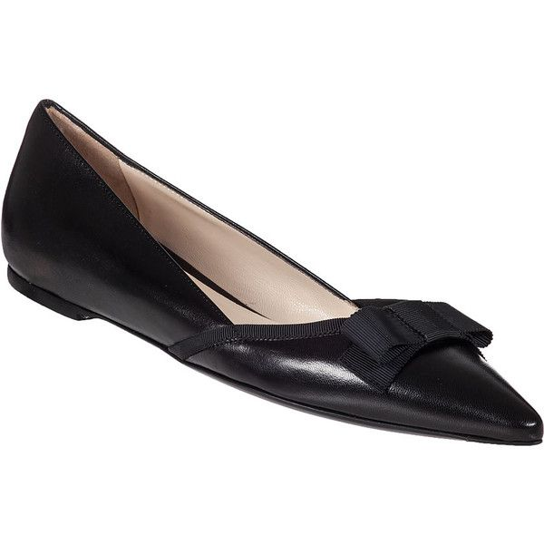 ROBERTO FESTA 2015 Tapered Flat Black Leather ($149) ❤ liked on Polyvore featuring shoes, flats, black leather, bow flats, pointed flats, black flats, flat shoes and black pointy flats