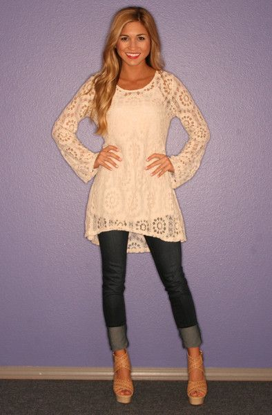 White lace tunic, cuffed skinnies, neutral wedges  Such a cute outfit love the top !!