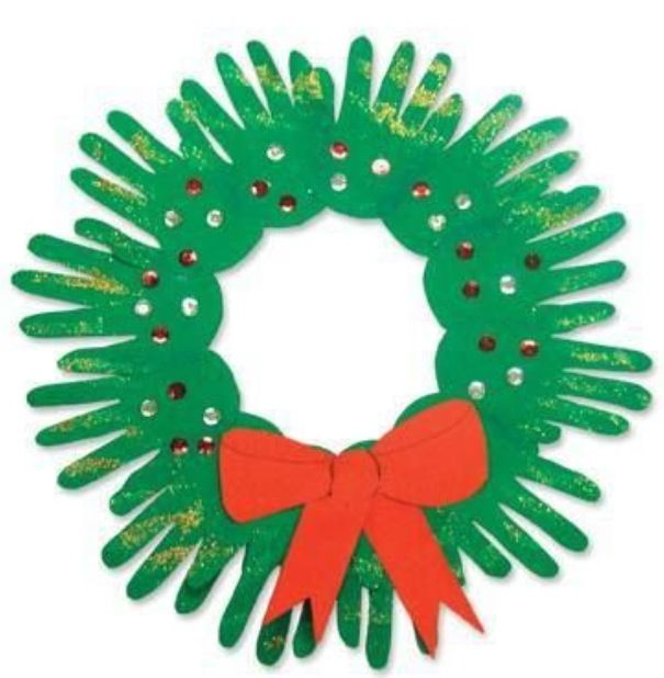Wreath. Little, or big, cut out hand prints, googly eyes and a red bow; that's it!! Love this!!!!