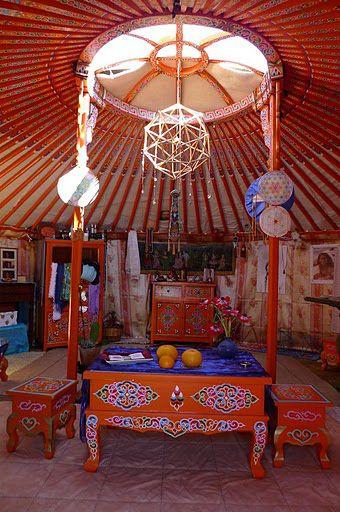 Interior of a ger, Mongolia