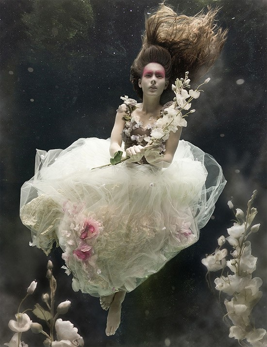 ♂ Underwater fashion photography lady in white FAIRY TALES