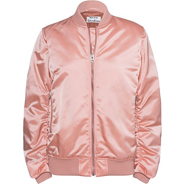ACNE STUDIOS Leia Bomber Rose // Shiny bomber jacket ($580) ❤ liked on Polyvore featuring outerwear, jackets, flight bomber jacket, short jacket, pink straight jacket, bomber style jacket and light pink bomber jacket