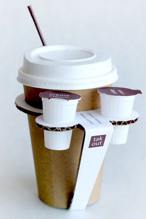 This package for coffee cup is a great as it has multi use where there are stands for milk. This solves the problem of carrying milk with the coffee