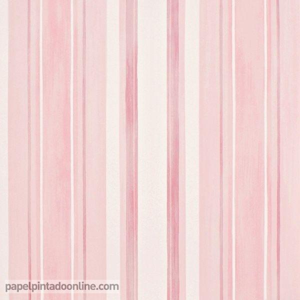 papel pintado infantil babies con rayas verticales de diferentes grosores y tonos de rosa y