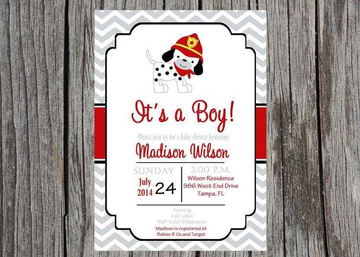 Fireman baby shower invitation, dalmatian invitation, firefighter baby shower, baby boy shower, custom and printable by PrintYourEvent on Etsy https://www.etsy.com/listing/200531207/fireman-baby-shower-invitation-dalmatian
