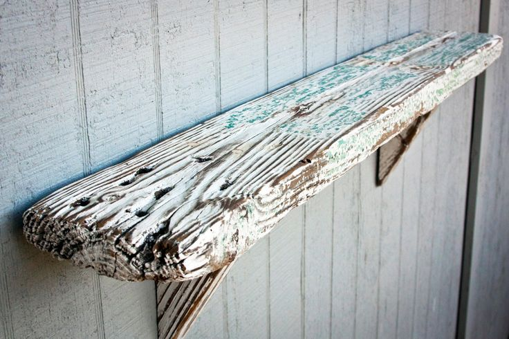 """barn wood shelf I have a 1/4 pallet from work that would make a really cool shelves for the bathroom. I want to """"weather"""" it to look like this. Kinda cottage/coastal"""
