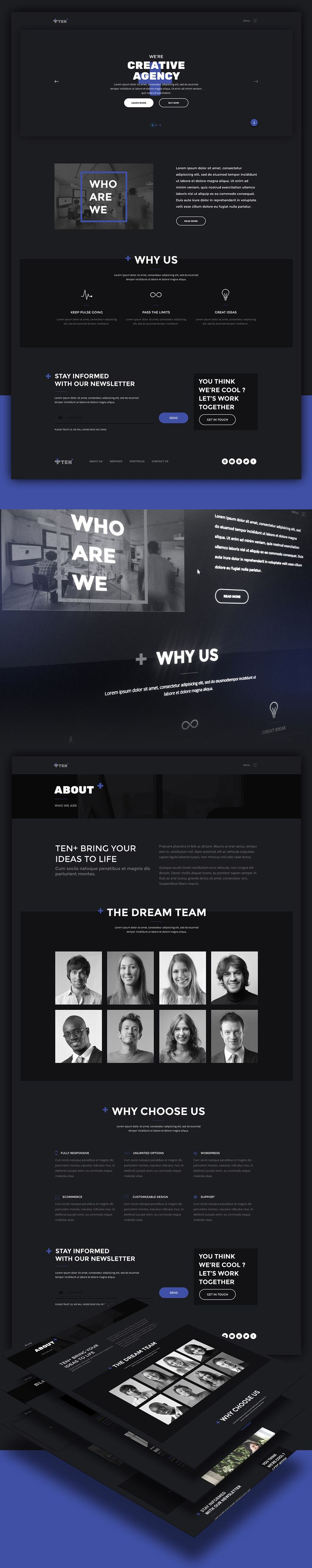 Nice Creative Digital Agencies Website Templates Free PSD Set. Download Creative Digital Agencies Website Templates Free PSD Set. Today's Freebie is an elegant template that has a dark theme design and can be used to create websites for creative agencies and showcasing company portfolio. This resources comes with HTML files which can save the time to create your site. Feel free to use it in your upcoming personal and commercial projects. Hope you like it. Enjoy!