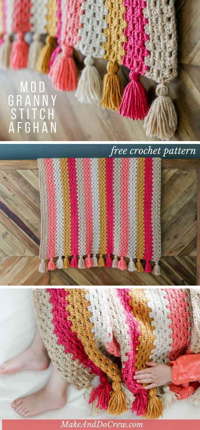 This modern crochet granny stitch blanket uses bold stripes and cheerful tassels…