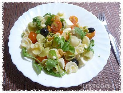 Recetas Light - Adelgazaconsusi: Ensalada de pasta con queso mozarella light y rúcula