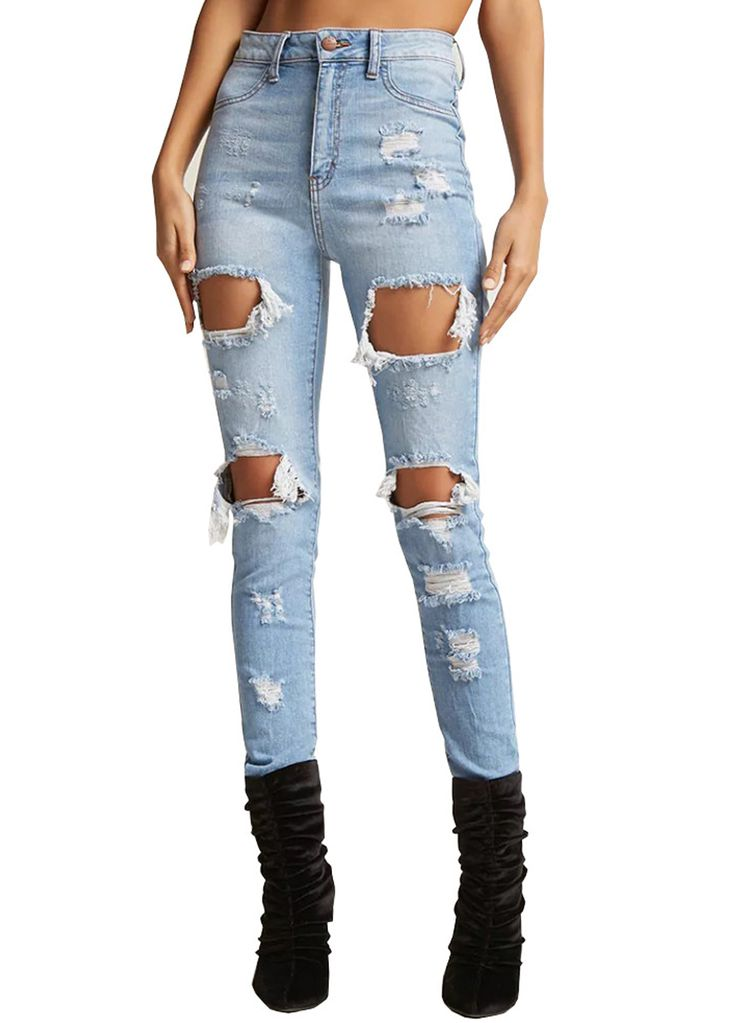 Blue High Waist Destroyed Ripped Skinny Jeans_Butt Lifting Skinny Jeans_Women Jeans_Sexy Lingeire | Cheap Plus Size Lingerie At Wholesale Price | Feelovely.com