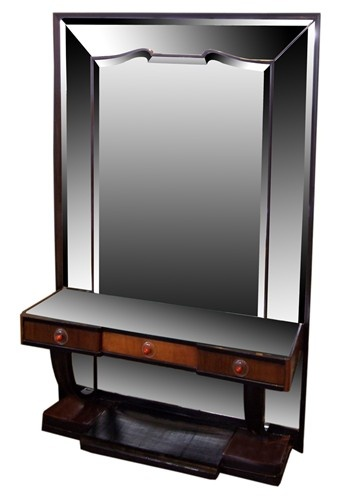 Art deco vanity deco modern hall piece with mirror circa for Modern art deco bedroom furniture