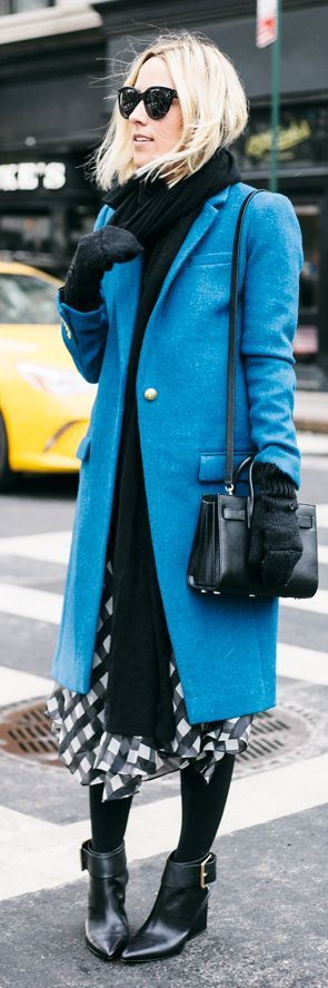 Blue Coat On Bw Outfit by Damsel In Dior