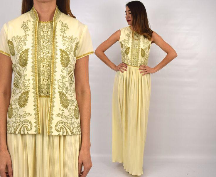 Alfred Shaheen Dress 70s Creme Gold Maxi Dress | Long Sleeveless Dress & Jacket, Small by GlennasVintageShop on Etsy https://www.etsy.com/listing/262689485/alfred-shaheen-dress-70s-creme-gold-maxi