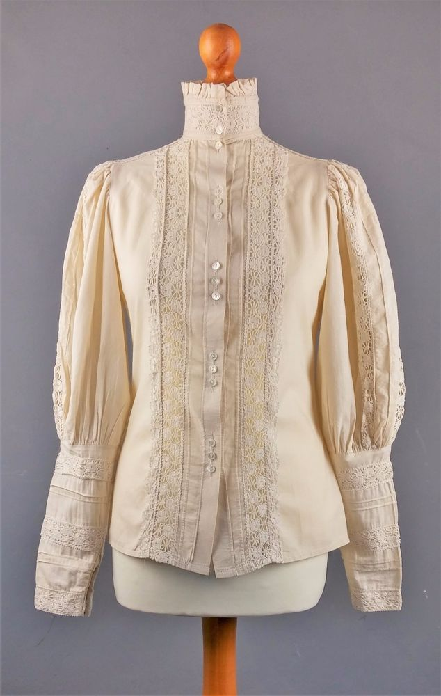 Vintage 1970s Laura Ashley Victorian or Edwardian Style Blouse Made in Carno, Wales, Great Britain, Size 10 12