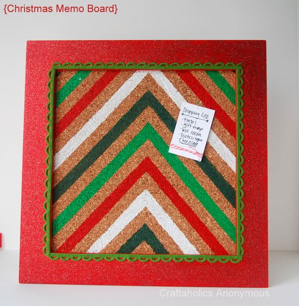 Chevron memo board. Cute Christmas Craft! // I like this idea for any time of the year....maybe for my craft shows?