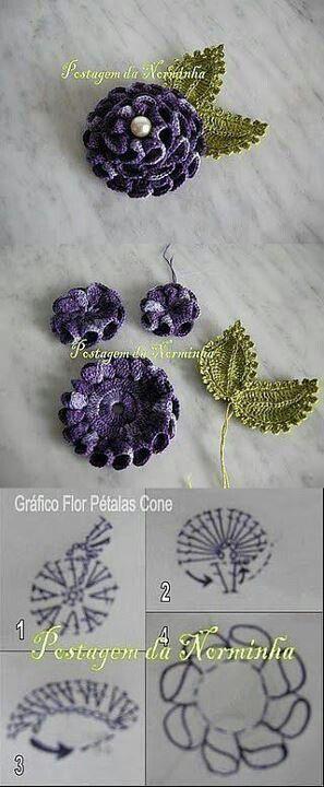 Orgulerim crochet on facebook. Flowers, cone petals. Bel fiore utile come decorazione: non semplicissimo la schema.