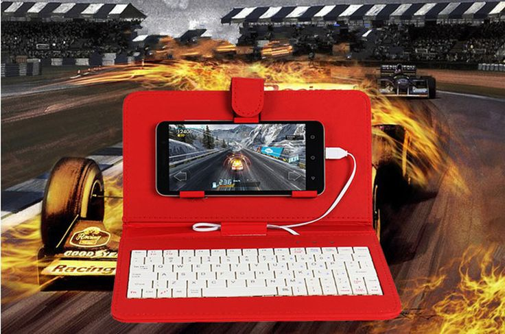 General Wired Keyboard Flip Holster Case For Android Mobile Phone 4.2''-6.8''
