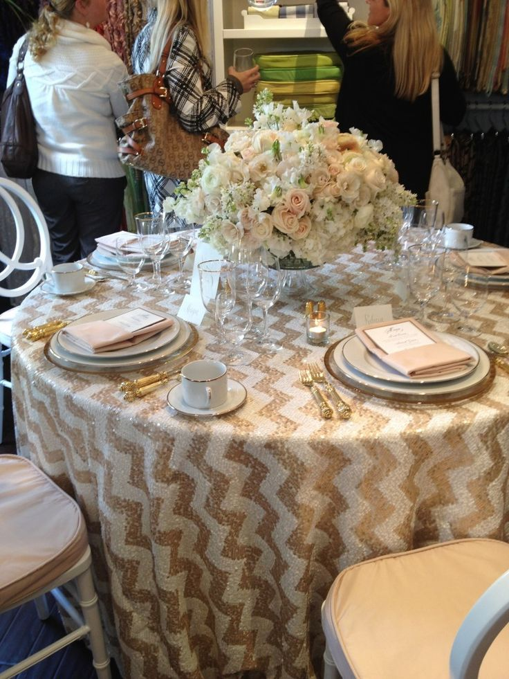 Superior Sequin Chevron Linen   Wildflower