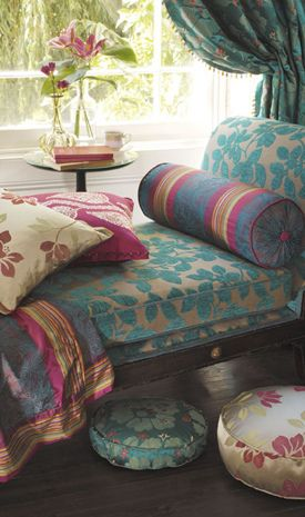 ⋴⍕ Boho Decor Bliss ⍕⋼ bright gypsy color & hippie bohemian mixed pattern home decorating ideas - daybed #gypsystyle