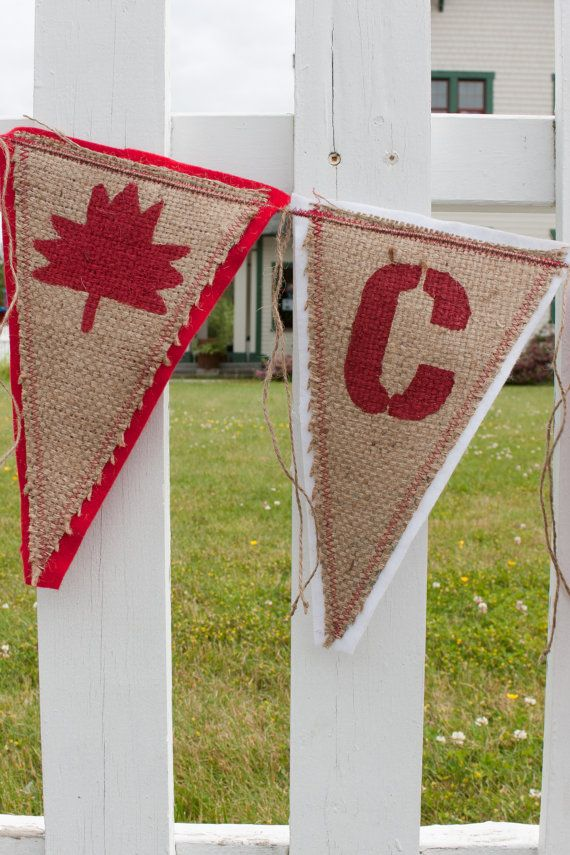 Upcycled CANADA Burlap Banner, Red and White, backed with felt - Eco-Friendly Canada Day Home Decor on Etsy, $42.23