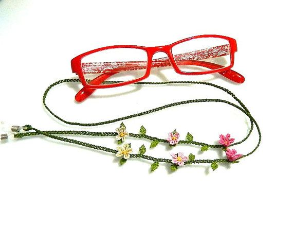 Glasses strap. Pink. 7080 cm. Silk embroidery. by guldemirdinc, $45.00