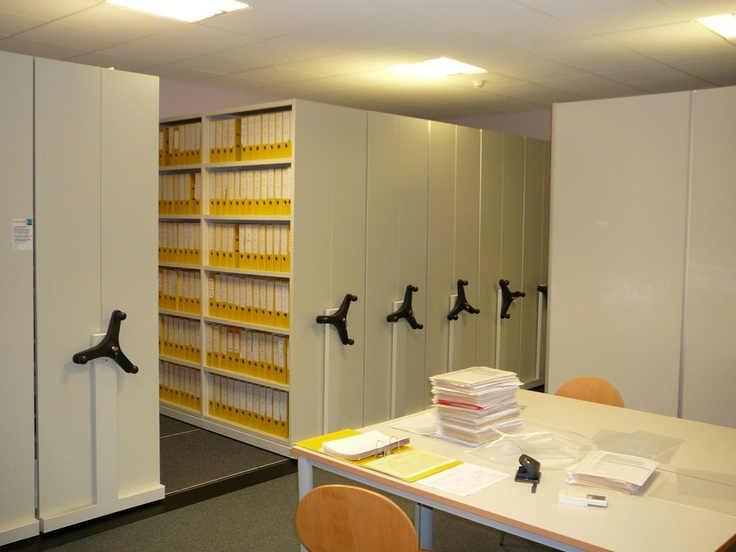 Flexistor allows mobile storage of hundreds or thousands of files, archives and other materials in much smaller and manageable spaces. http://www.compactstorage.co.uk/mobile-shelving/flexstor/