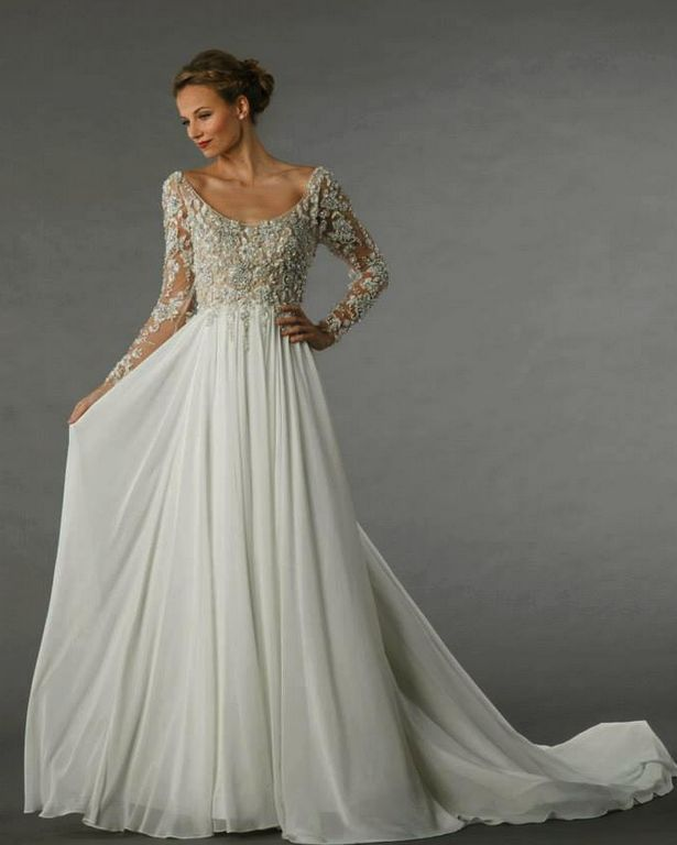 Long Sleeve Wedding Dress. Intricate Beaded Lacy Top With