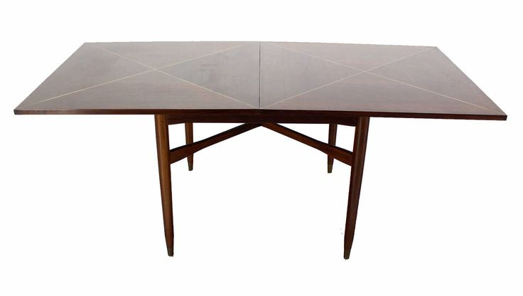Walnut Top w/ Brass Inlay Mid Century Modern Expandable Game Table | From a unique collection of antique and modern game tables at https://www.1stdibs.com/furniture/tables/game-tables/