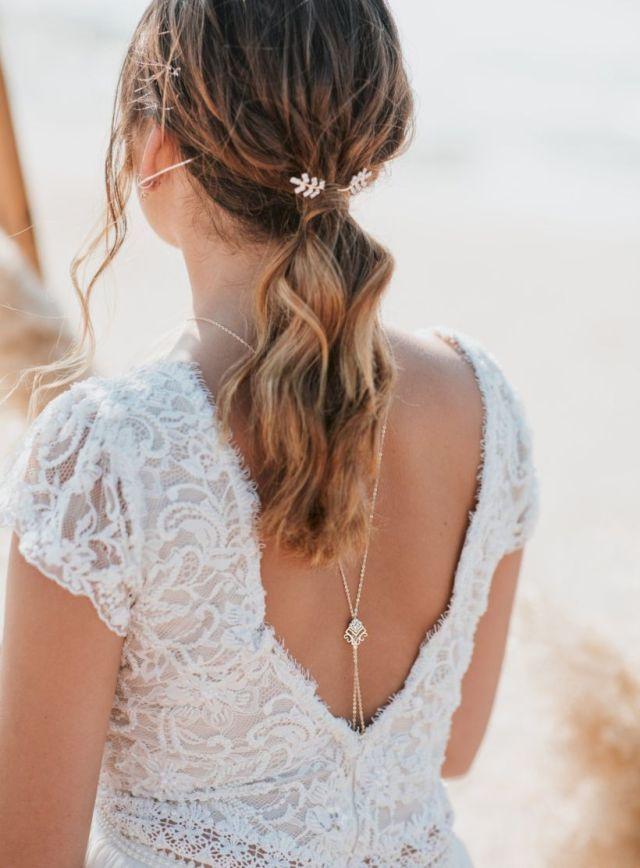 47 Elegant Backdrop Necklace Ideas For Open Back Wedding Dresses