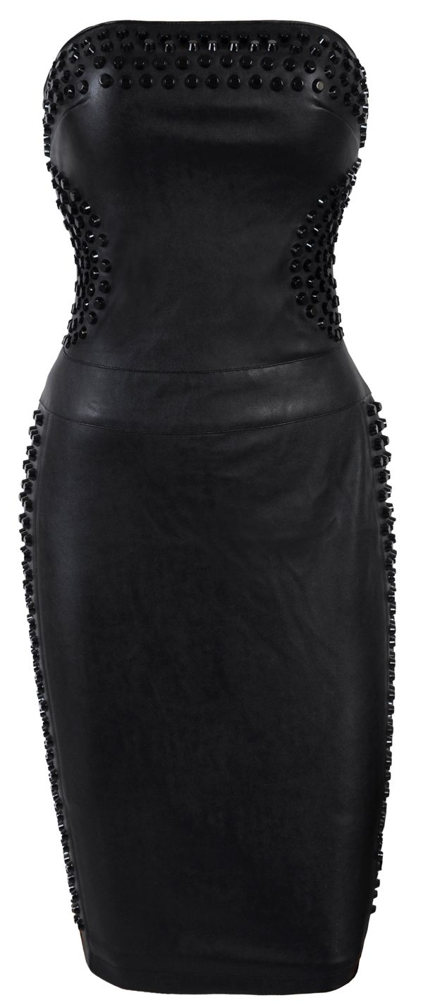 Black Studded Strapless Leather Dress- Collection Lust