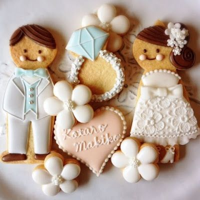 Wedding Cookies~ By アイシングクッキーレッスン&オーダーメイド【fiocco】: アイシングクッキー, #, groom, bride, wedding ring, white, blue