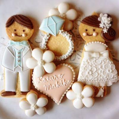 Wedding Cookies~ By アイシングクッキーレッスン&オーダーメイド【fiocco】: アイシングクッキー, #, groom, bride, wedding ring, white, blue
