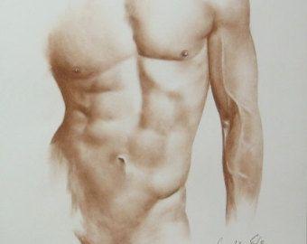 Croquis de croquis de nu masculin, commande nu masculin, nu à la main, dessin érotique, Erotic Art, photo nu masculin, nu masculin sépia, fait sur commande 6/20