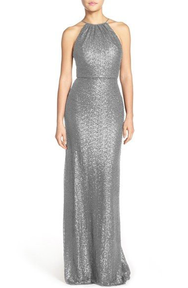 Free shipping and returns on Amsale 'Chandler' Sequin Tulle Halter Style Gown at Nordstrom.com. Thousands of light-catching sequins add radiant shimmer to a flattering tulle gown styled