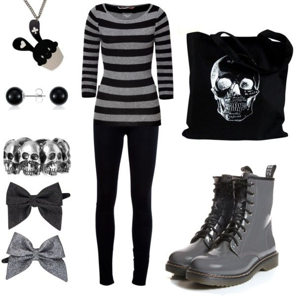 """""""Kashual"""" by theeverydaygoth on Polyvore.  Like the black-grey balance. Think I'd skip the necklace and the hair bows."""